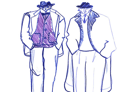 Illustrations for a book about 1930's mens suits