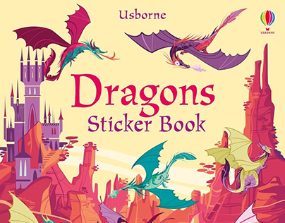 Dragons stickers book by Usborne publisher