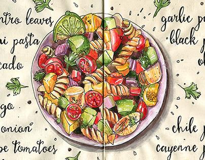 Cilantro-Lime Pasta Salad, watercolor recipe