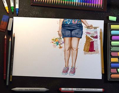 Asas de Fibra - Ilustrações / Aquarela
