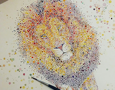 Dotted watercolor lion