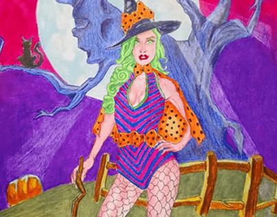 Halloween Witch: Original A3 size Artwork