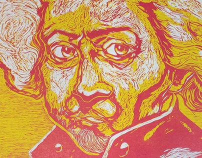 Rembrandt Linocut Portrait