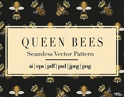 Queen Bees   Seamless Vector Pattern