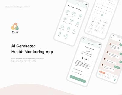 Preno UX/UI - AI Generated Health Monitoring App