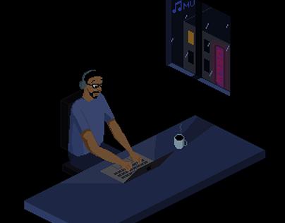 Pixel art - Alcides working at night (2020)