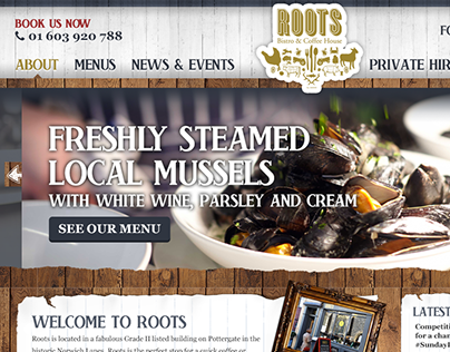 Website Layout for a Bistro & Coffee House