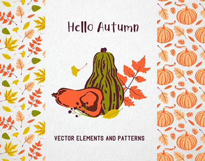 Hello autumn. Collection of vector elements and pattern