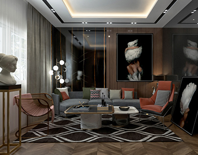 Artistic Modern Living Room in Cairo