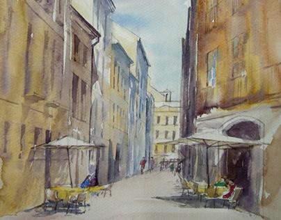 4 watercolours. Pavement houses.