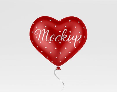 Red Helium Heart Balloon Mockup in PSD