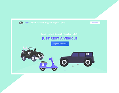 Landing Page For Rent a Car | Flat | Simple