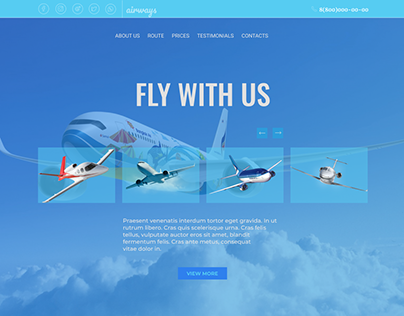 landing page for a private airline