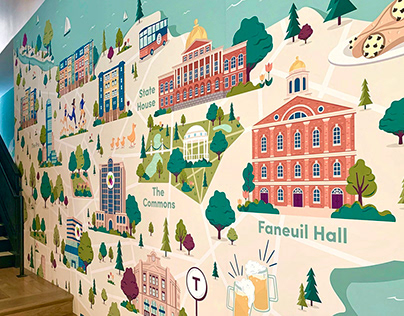 Illustrated Map Mural for Wayfair Office