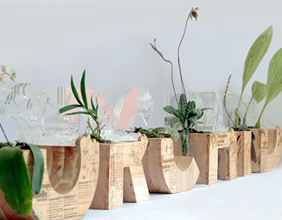 Applied Typography on Wood pots