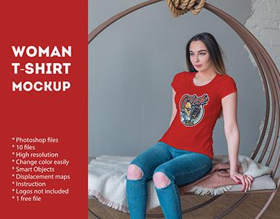 Woman T-Shirt Mockup (1 free file)