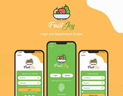 Mobile App Login & Registration Screen Design