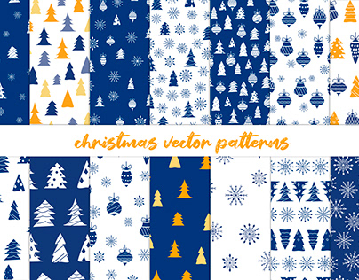 Patterns with Christmas trees snowflakes and decor