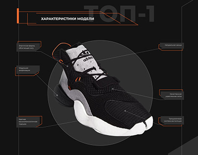 Website concept. Adidas CRAZY BYW SHOES landing.