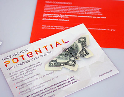 4 part origami CASH direct mail piece by DK Design