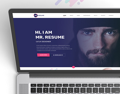 Mr. Resume Free One Page PSD Template