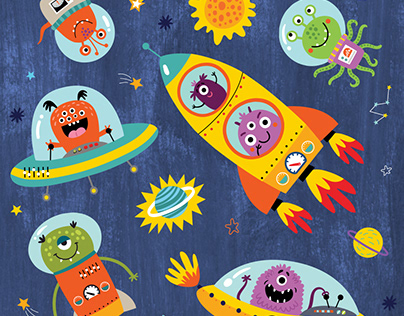 Funny monsters in space. Vector illustration