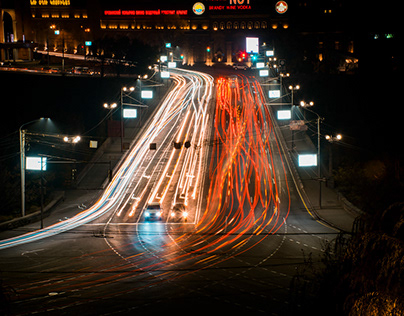 Yerevan night long exposure and time-lapse