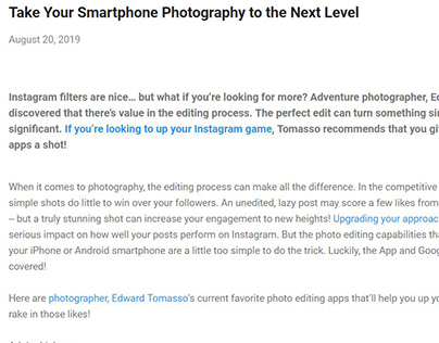 Smartphone Photography Editing Apps