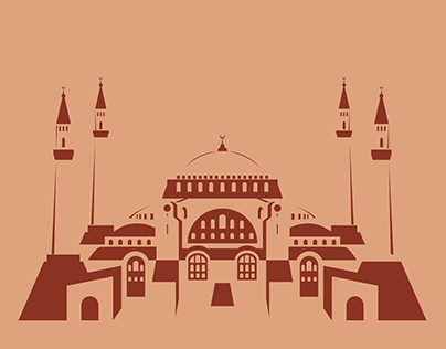 Hagia Sophia Flat Illustration