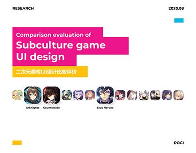 Comparison evaluation of subculture game UI design