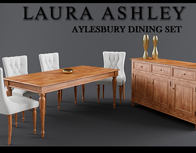 Laura Ashley Aylesbury Dining Table Set 3DS MAX Model
