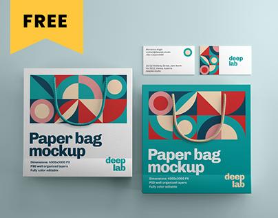 Paper Bag & businesscard branding mockup - FREE
