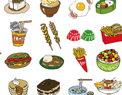 Illustrations of various foods