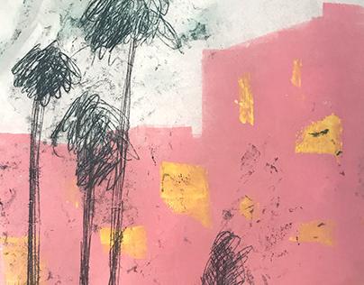 pink street - monotype printmaking