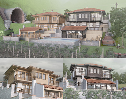 Bulgarian village houses in traditional architectural