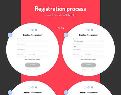 Registration process on online casino (UI/UX)