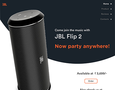 Landing page of JBL Flip 2