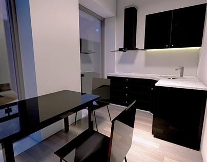 kitchen interior design in a small hotel