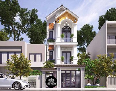 Mẫu thiết kế nhà phố cổ điển 3 tầng mới lạ và tinh tế