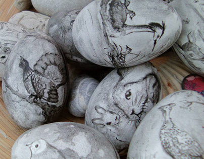 Hand-painted goose Easter eggs.