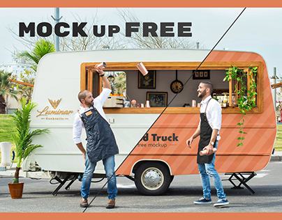 FREE MOCKUP / Food Truck & Two bartenders