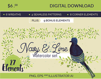 Navy & Lime Watercolor Set