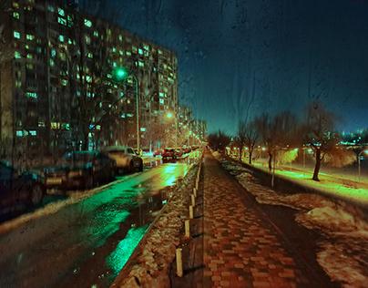 Night city Kiev. Rain.