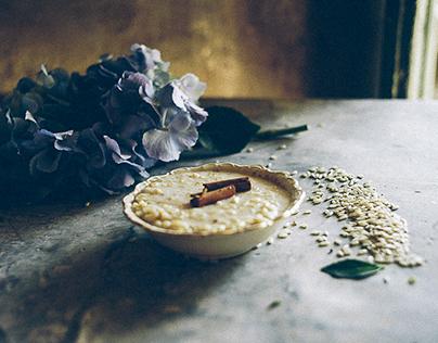 Food Photography-Hydrangeas & Rice Pudding