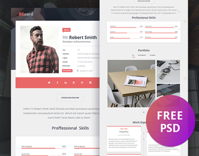 Material Design Resume/CV & Portfolio