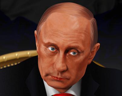 Vladimir Putin vector portrait - no pixels, all vector