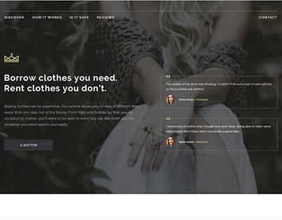 LANDING PAGE: for rent clothes