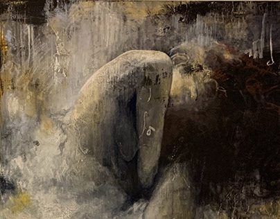 """Winter girl"", 160 x 200 cm, acrylic painting, 2019 Dec"