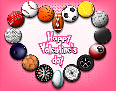 Valentine's Day sports illustrations and miscellaneous