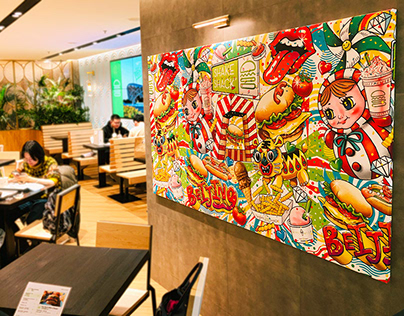 Shake Shack Beijing Wall Art and Collab T-shirt